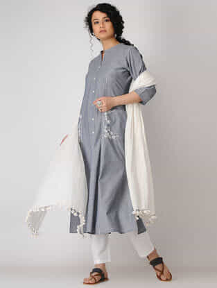 Grey Hand-embroidered Cotton Chambray Kurta