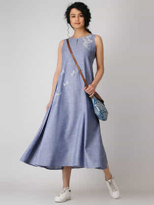 Blue Hand-embroidered Cotton Chambray Dress
