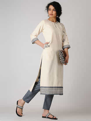Ivory Pleated Cotton Flax Kurta with Hand Embroidery
