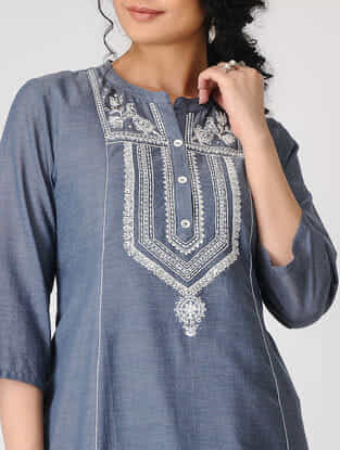 Blue Hand-Embroidered Cotton Chambray Kurta with Slip (Set of 2)
