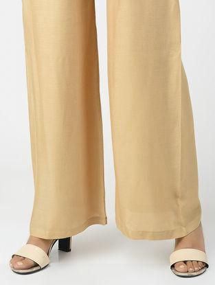 Beige Elasticated Waist Cotton Pants