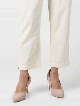 Ivory Elasticated Waist Cotton Flax Pants
