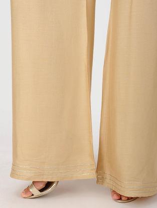 Beige Elasticated Waist Cotton Viscose Palazzos