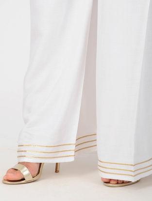 White Elasticated Waist Cotton Viscose Palazzos