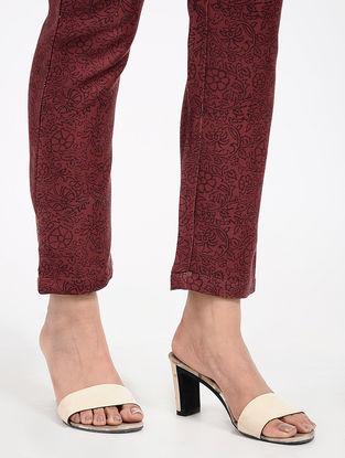 Maroon Printed Twill Pants