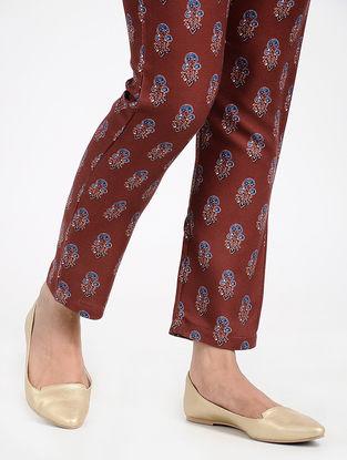 Maroon-Blue Printed Twill Pants