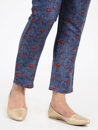 Blue-Red Printed Twill Pants