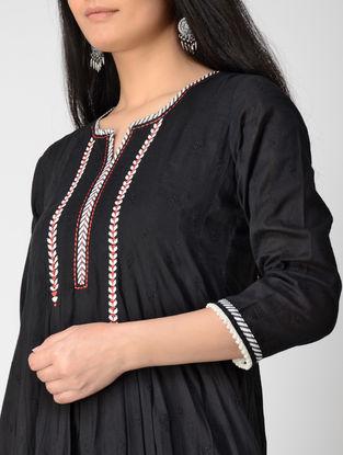 Black Block-printed Cotton Dobby Anarkali Kurta with Embroidery