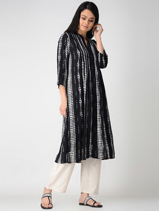 Black-White Printed Rayon Kurta with Embroidery and Front Slit