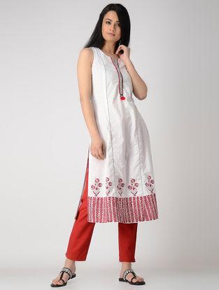 White Block-printed Cotton Dobby Kurta with Embroidery