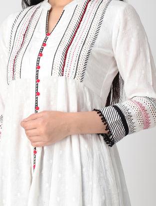 White Hand-embroidered Cotton Dobby Anarkali Kurta