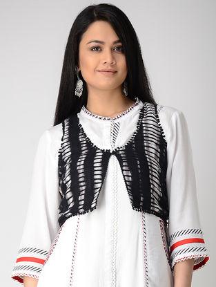 Black-White Printed Rayon Jacket