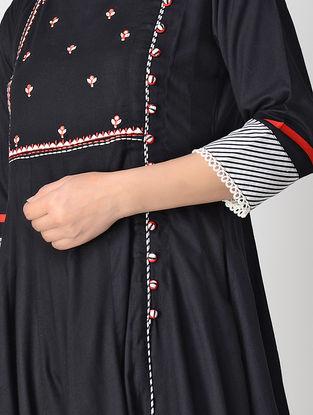 Black Hand-embroidered Rayon Anarkali Kurta with Mirror Work