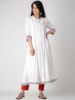 White Hand-embroidered Rayon Anarkali Kurta