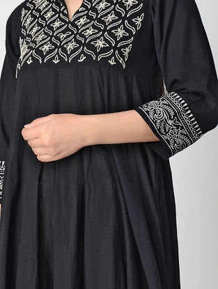 Black Block-printed Cotton Voile Anarkali Kurta with Hand Embroidery