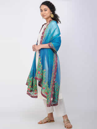 Blue-Green Hand-embroidered Silk Dupatta with Brocade Border