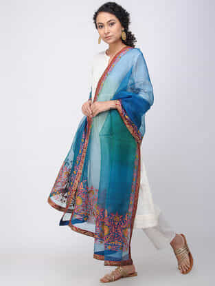 Blue-Pink Hand-embroidered Silk Dupatta with Brocade Border