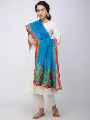 Blue Hand-embroidered Silk Dupatta with Brocade Border