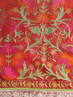 Orange-Pink Hand-embroidered Silk Dupatta with Brocade Border