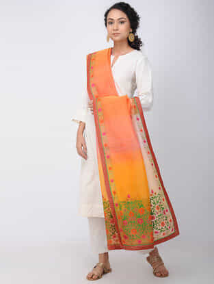 Orange-Yellow Hand-embroidered Silk Dupatta with Brocade Border