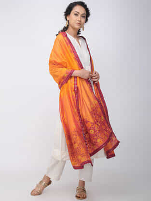 Orange-Purple Hand-embroidered Silk Dupatta with Brocade Border