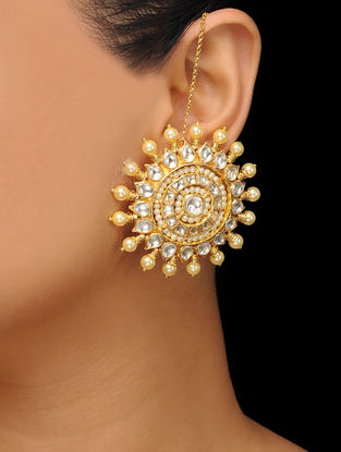 Gold Tone Polki Pearl Stud Earrings