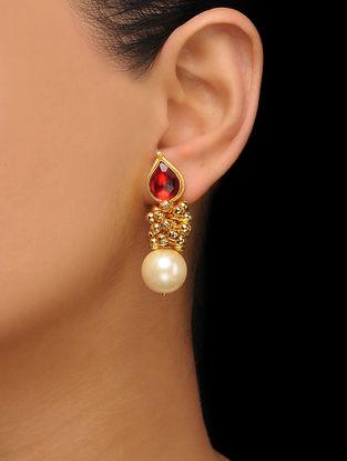 Red Gold Tone Kundan Inspired Pearl Stud Earrings