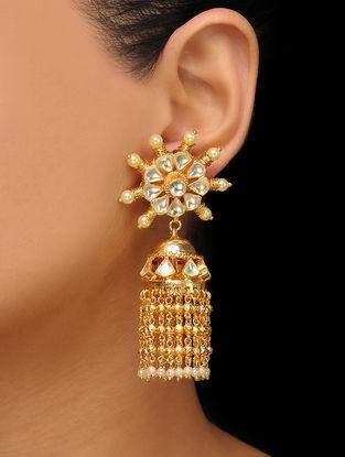 Gold Tone Kundan Inspired Pearl Jhumkas