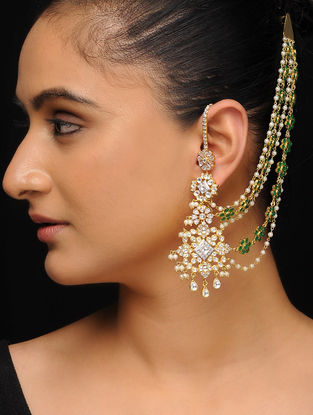 Green Gold Tone Polki Earrings with Chains