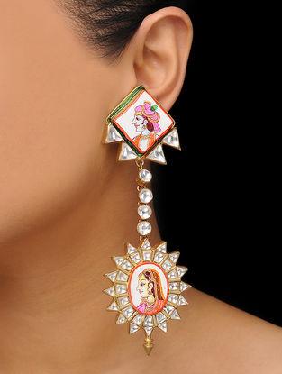 Multicolored Gold Tone Handpainted Kundan Inspired Earrings