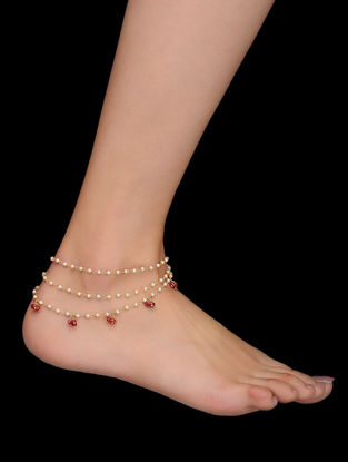 Red Gold Tone Pearls and Quartz Anklets