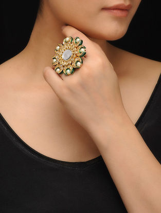 Green Gold Tone Polki and Pearls Ring