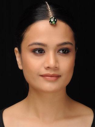 Green Gold Tone Meenakri Kundan Inspired Mang Tikka