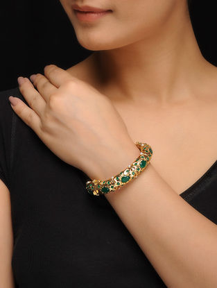 Green Gold Tone Jadau and Aari work Bangle