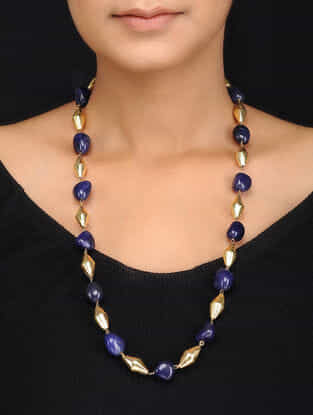 Blue Gold Tone Natural Stones and Dholki Beads Necklace