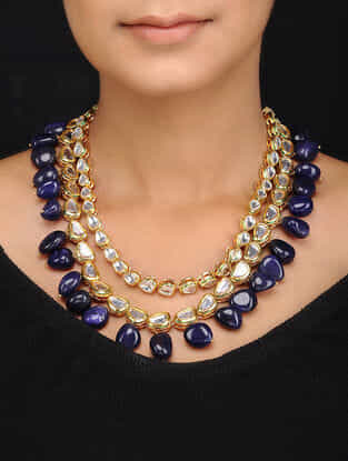 Blue Gold Tone Kundan Inspired Natural Stones Necklace