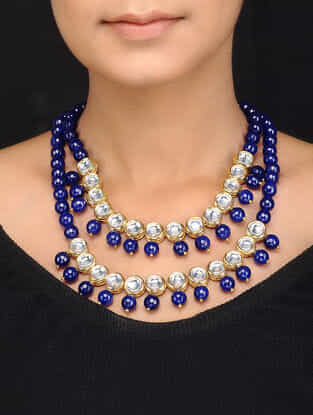 Blue Gold Tone Kundan Inspired Quartz Necklace