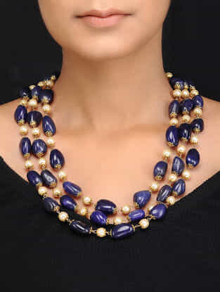 Blue Gold Tone Shell Pearls and Natural Stones Necklace