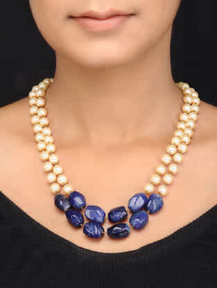 Blue Gold Tone Shell Pearls and Agate Necklace