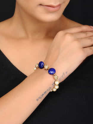 Blue Gold Tone Pearls and Jadau Bracelet