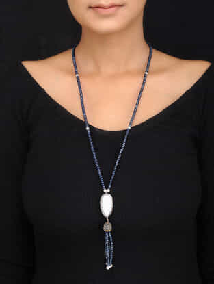 Blue Gold Tone Quartz and Pearl Tassels Pendant Necklace