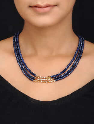 Blue Gold Tone Quartz Multistrand Necklace