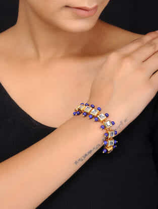Blue Gold Tone Kundan Inspired Quartz Bracelet