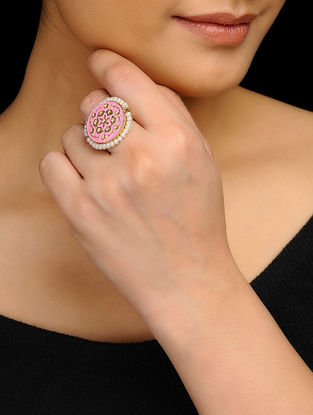 Pink Gold Tone Handpainted Ring