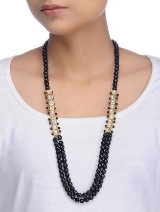 Black Gold Tone Kundan Inspired Onyx Necklace