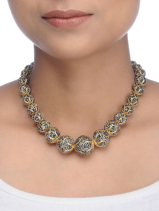 Black Gold Tone Crystal Necklace