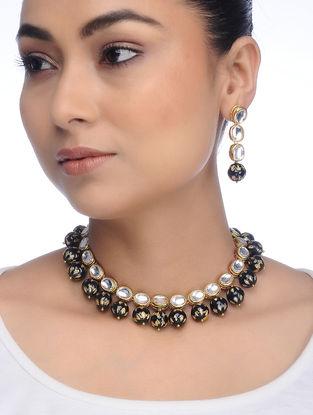 Black Gold Tone Kundan Inspired Meenakari Necklace with Earrings (Set of 2)