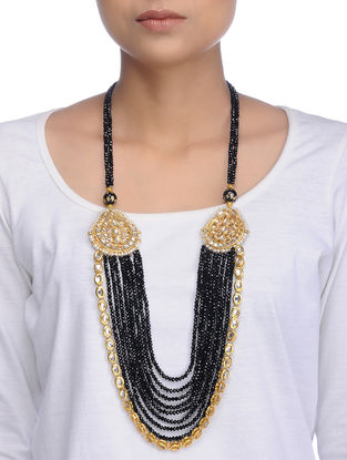 Black Gold Tone Kundan Inspired Crystal Necklace