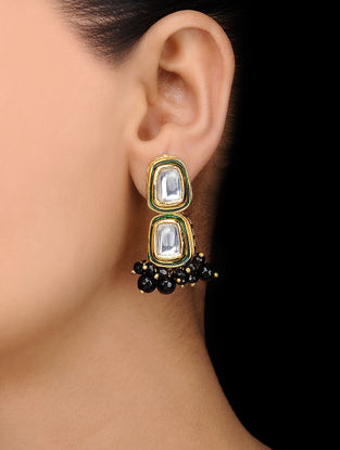 Black Gold Tone Kundan Inspired Onyx Stud Earrings