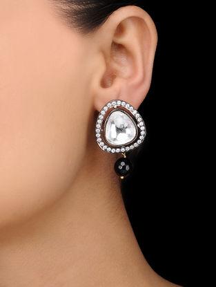 Black Gold Tone Onyx Polki Stud Earrings